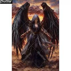 Diamanttavla Black Angel 40x60