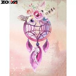 Diamanttavla Rose And Fethers Dreamcathcer 40x50