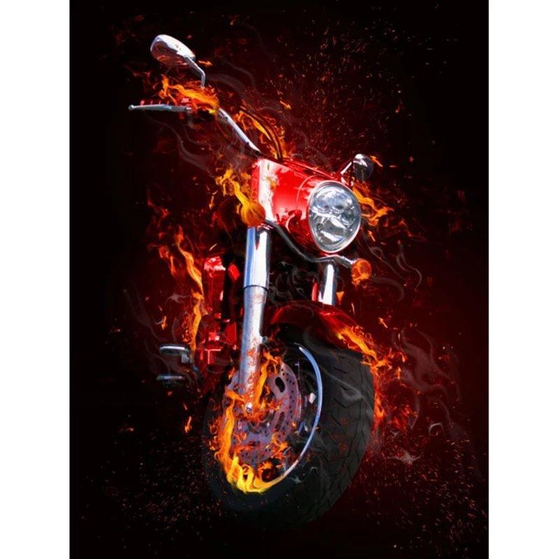 Diamanttavla Burning Motorcycle 40x50