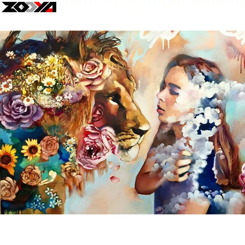 Diamanttavla Beauty And Lion 40x50
