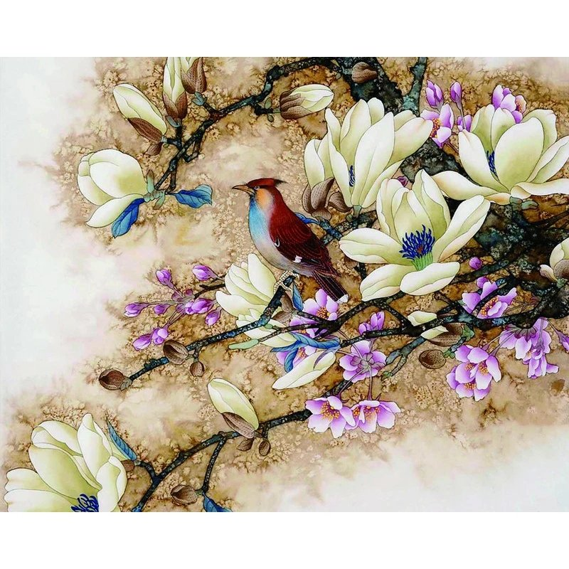 Diamanttavla Bird In Tree  40x50