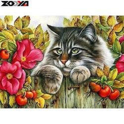 Diamanttavla Garden Cat 30x40