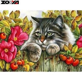Diamanttavla Garden Cat 30x40