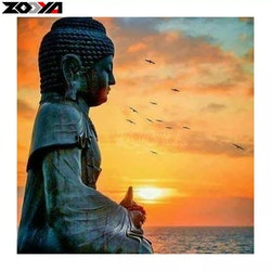 Diamanttavla Buddha Sunset 40x40