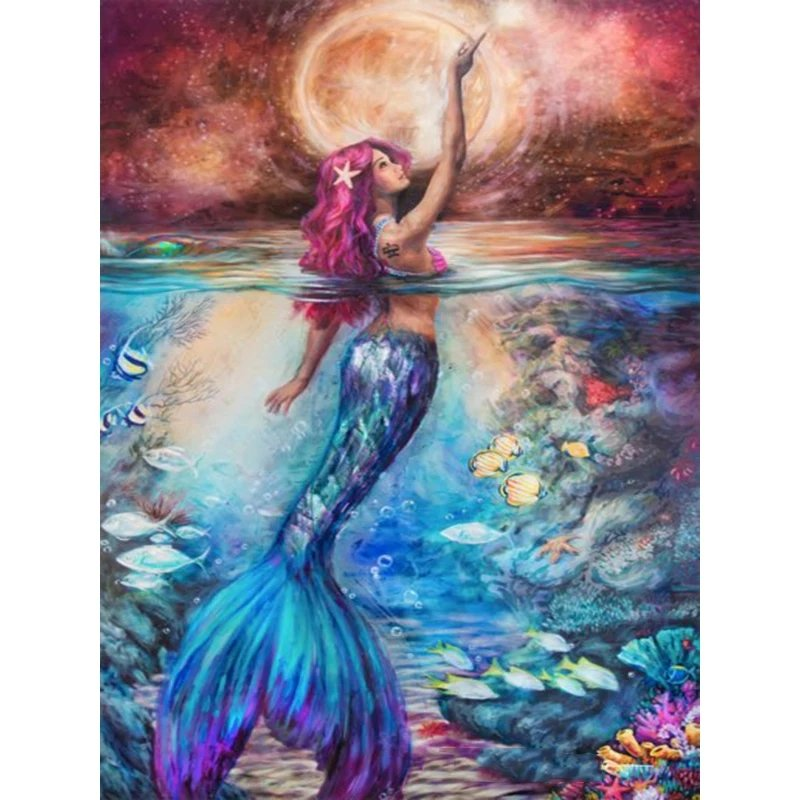 Diamanttavla Beautiful Mermaid 40x50