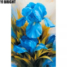 Diamanttavla Blue Lily 30x40