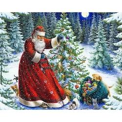 Diamanttavla Santa Dogs And Cats 40x50