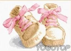 Diamanttavla Baby Girl Shoes 30x40