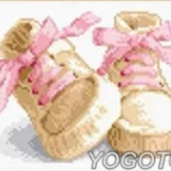 Diamanttavla Baby Girl Shoes 30x40