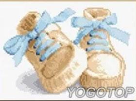Diamanttavla Baby Boy Shoes 30x40