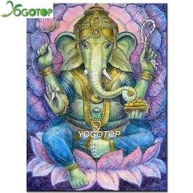 Diamanttavla Ganesha Lotus  30x40