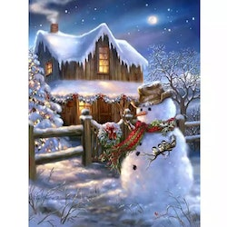 Diamanttavla Snowman Night 40x50
