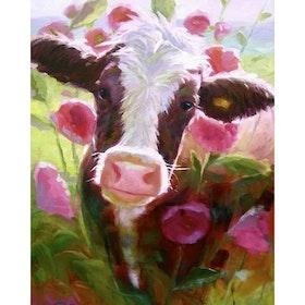 Diamanttavla Flower Cow 30x40