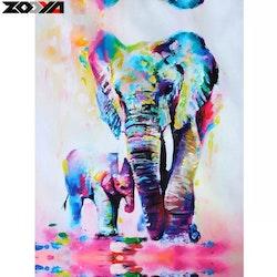 SNART I BUTIK-Diamanttavla Elephant And Baby 40x50