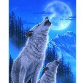 Diamanttavla Wolf And Puppy 40x50