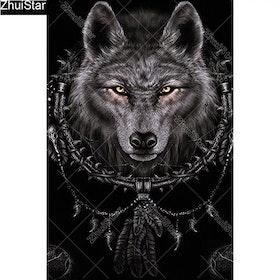 Diamanttavla Black Wolf Head 40x60