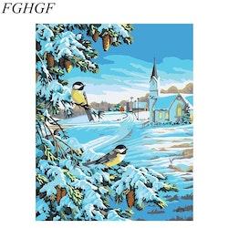 Paint By Numbers Vinterlandskap 40x50