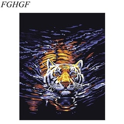 Paint By Numbers Tiger I Vatten 40x50