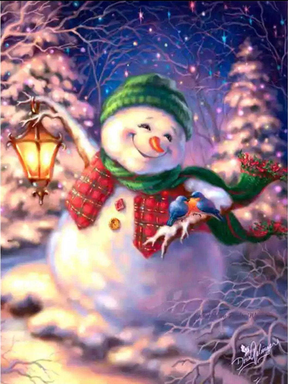 Diamanttavla Happy Snowman 30x40