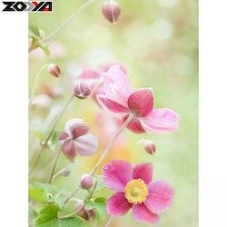 Diamanttavla Pink Little Flower 30x40