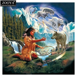 Diamanttavla Indianwoman With Wolves 50x50