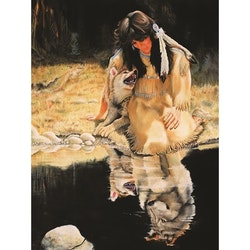 Diamanttavla Indiankvinna Vargspegelbild  40x50
