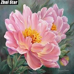 Diamanttavla Pink Flower 40x40