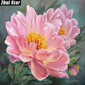 Diamanttavla Pink Flower 40x40