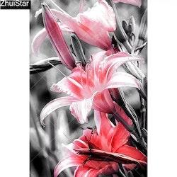 Diamanttavla Redish Flower 40x60