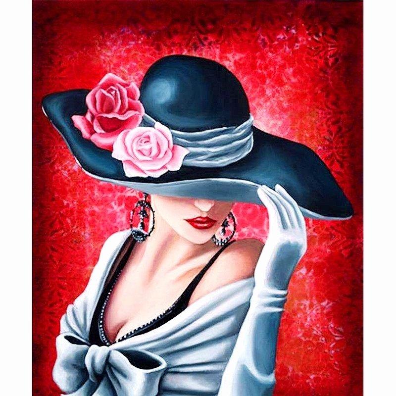 Diamanttavla Lady In Hat 40x50