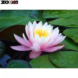 Diamanttavla Pink Lotus 30x40