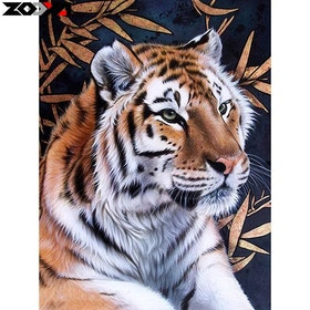 Diamanttavla Tiger Bambu 40x50
