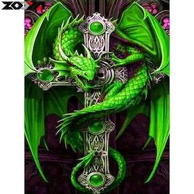 Diamanttavla Green Dragon Cross 40x50