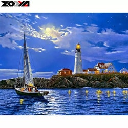 Diamanttavla Sea By Night 40x50
