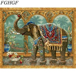 Paint By Numbers Elefant I Palats 40x50