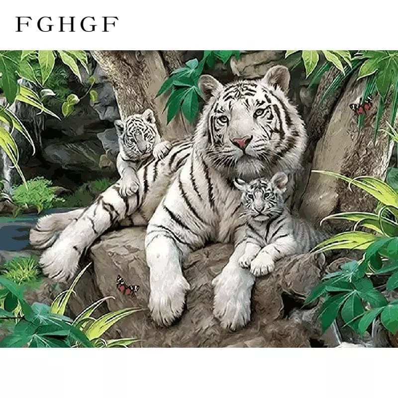 Paint by Numbers White Tigers 40x50