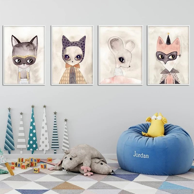 Poster Set Om 4 Cute Animals 30x40