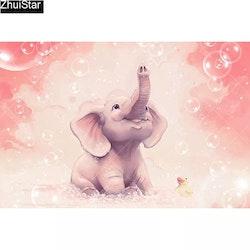 Diamanttavla Litle Cute Elephant 40x60