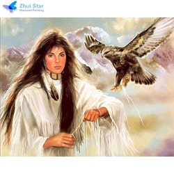 Diamanttavla Indianwoman And Eagle 40x50