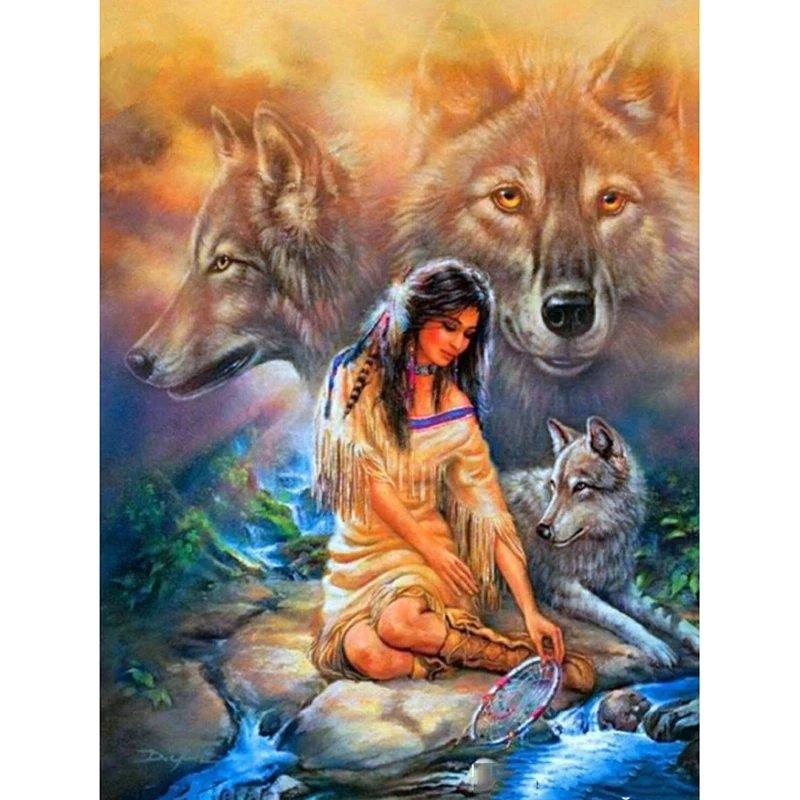 Diamanttavla Indiankvinna vid bäck 40x50