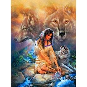Diamanttavla ( R) Indiankvinna vid bäck 40x50