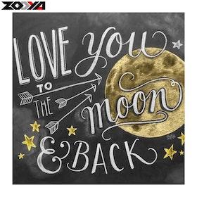 Diamanttavla (R) Love You To The Moon 40x40