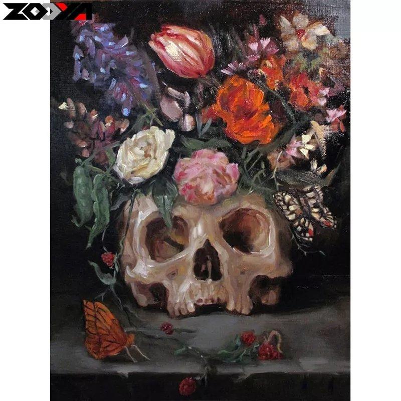 Diamanttavla Painted Flower Skull 30x40