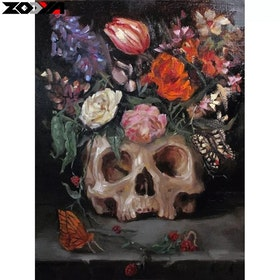 Diamanttavla Painted Flower Skull 30x40