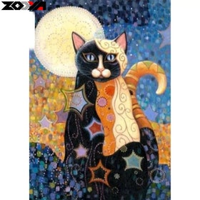 Diamanttavla Cat In The Moon (R) 30x40