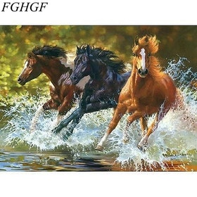 Paint By Numbers Horses River 40x50