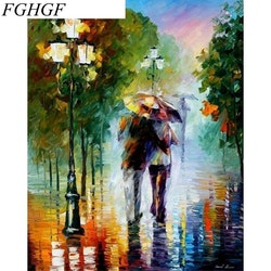 Paint By Numbers Walking In Rain 40x50
