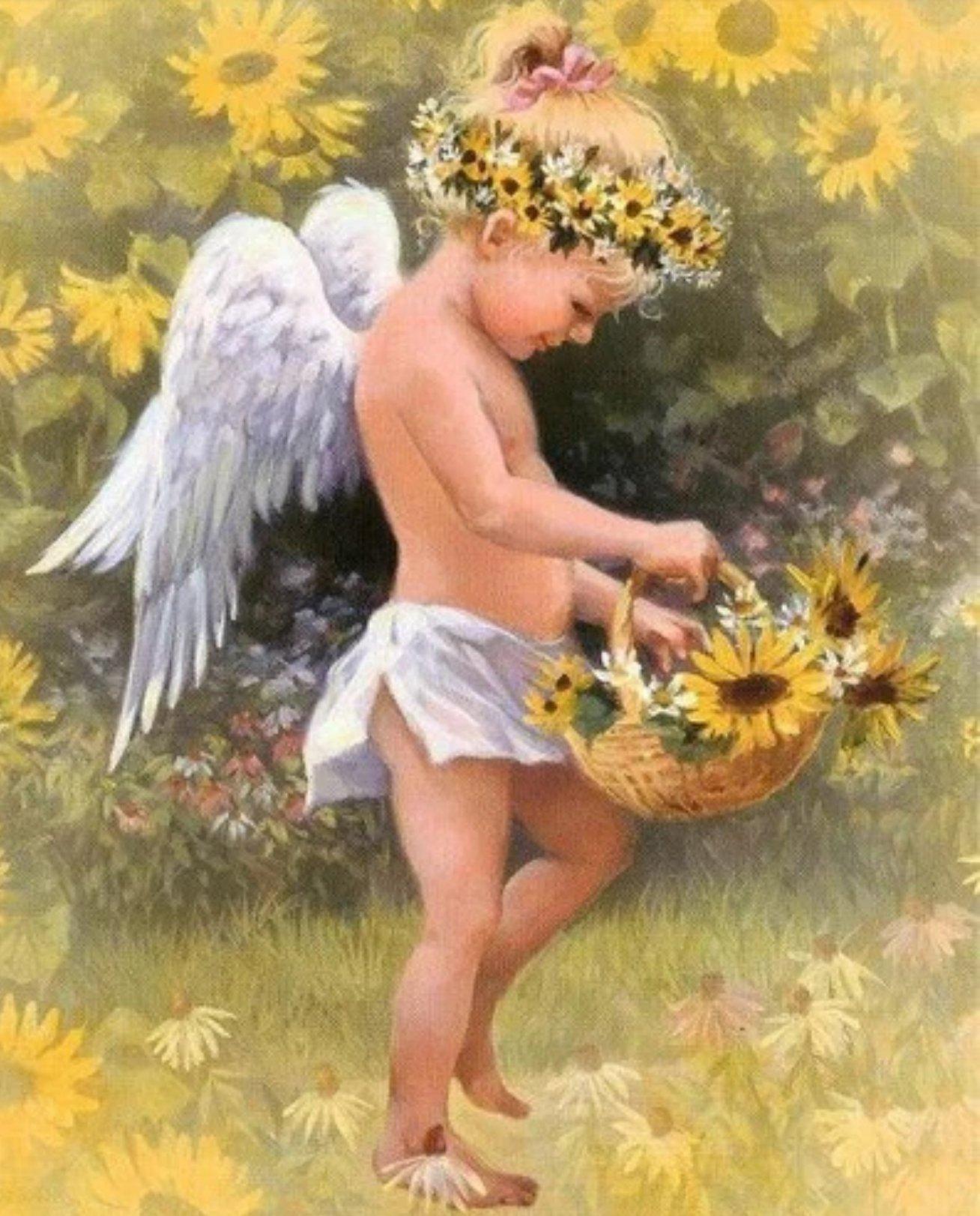 Diamanttavla Sunflower Angel 40x50