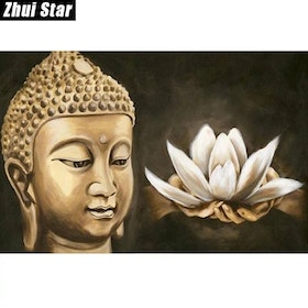 Diamanttavla Buddha Hands With Lotus 40x50