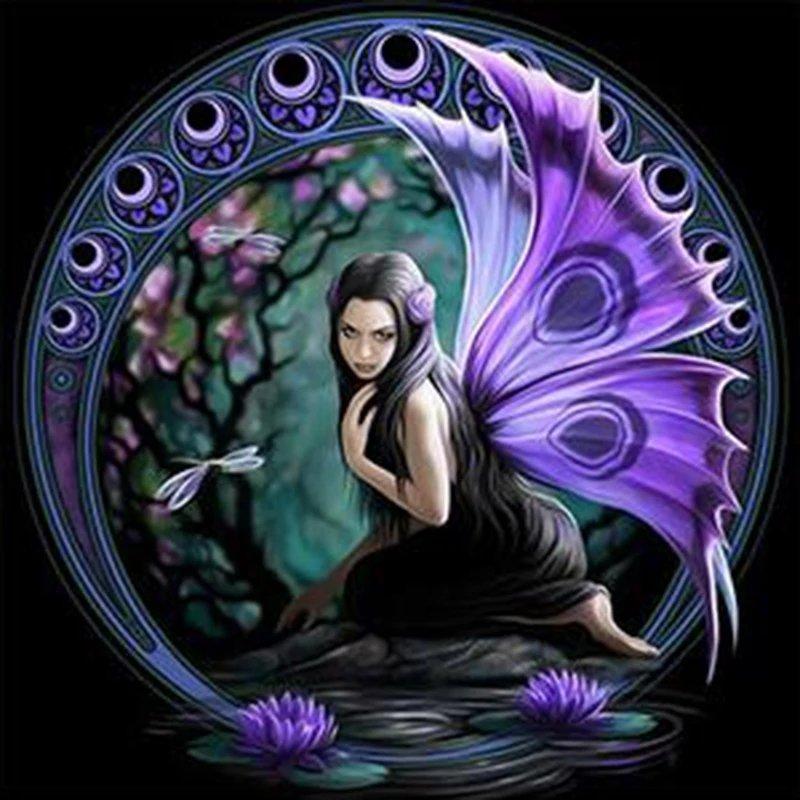 Diamanttavla Fairy Lotus 40x40
